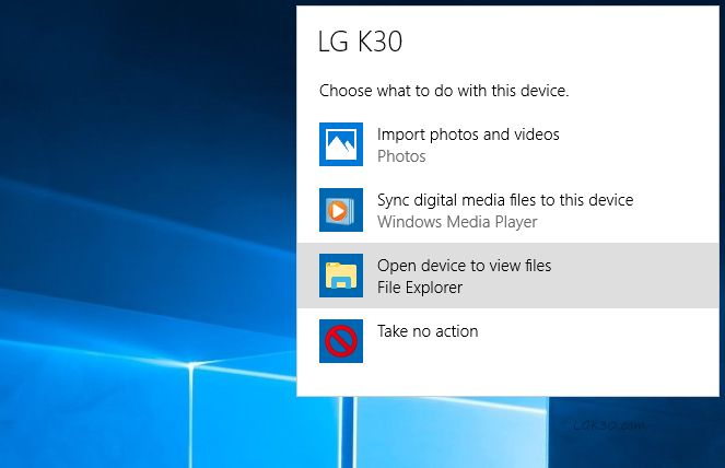 LG K30 Connect to PC and File Transfer