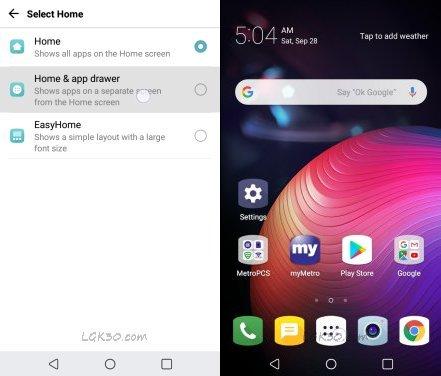 LG K30 Home & app drawer
