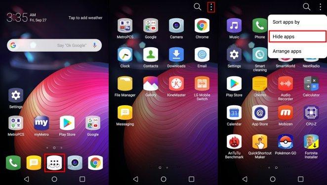 LG K30 Hide Apps