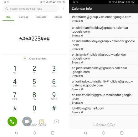 LG K40 Secret code for Calendar Info