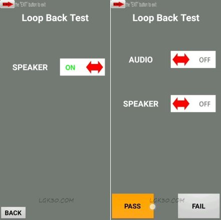 loopback test k40 hidden menu