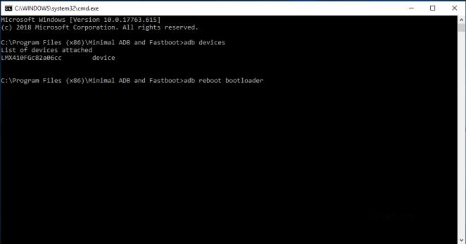 lg k30 adb reboot bootloader