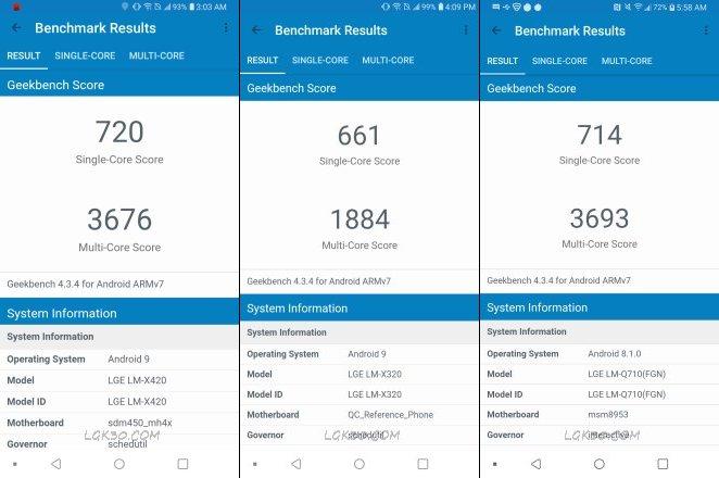 LG K40 LM-X420 Geekbench Test