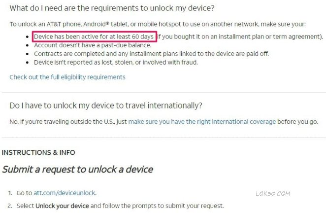 LG K40 AT&T Unlock lmx420as