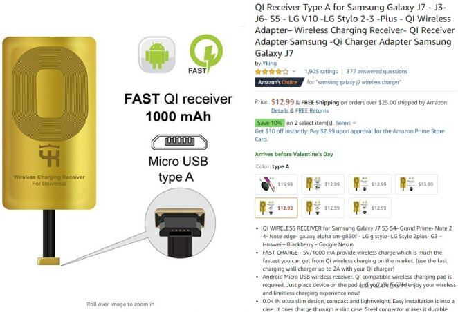 lg k30 wireless charger qi receiver