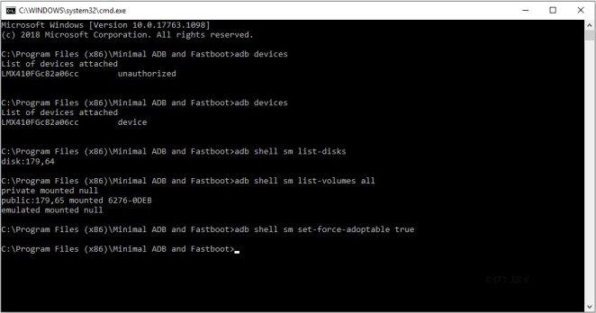 lg k30 adoptable storage adb command