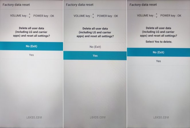 lg k40 factory reset forgot password