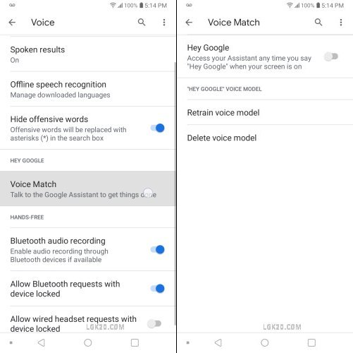 lg k30 voice notifications