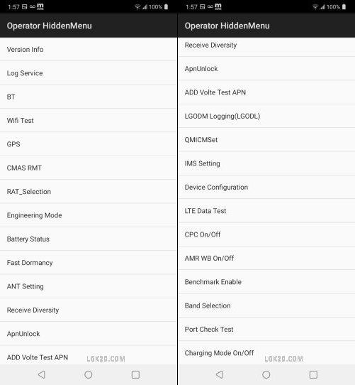 lg k51 operaor hidden menu