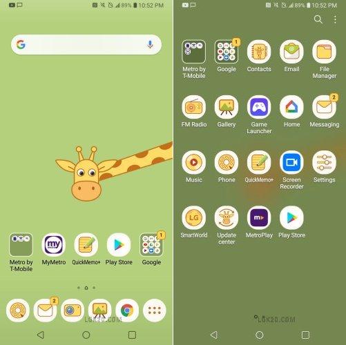 LG K40 Giraffe Theme