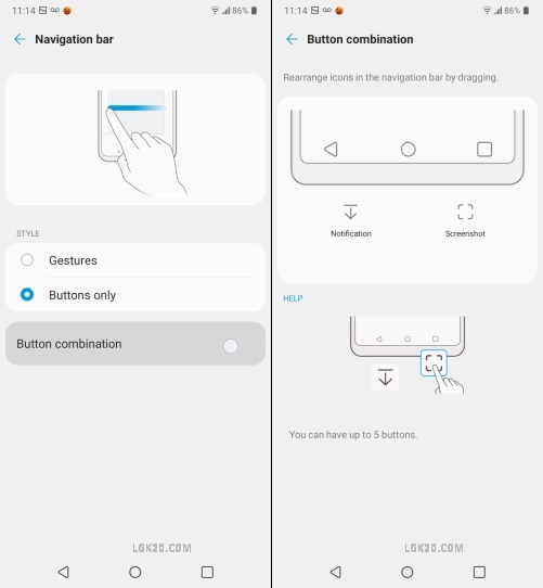 lg k51 home and back button
