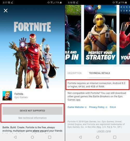 Is lg k51 compatible with fortnite?