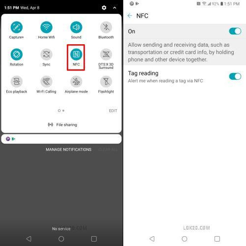 does lg k51 support nfc