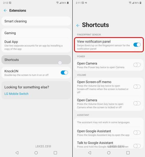 lg k51 notification panel shortcut