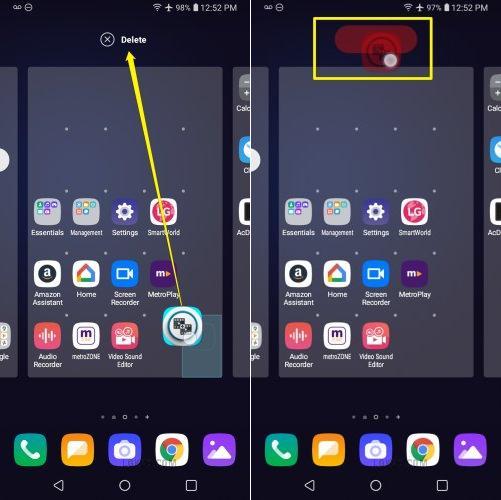 how to delete apps on lg k30 k40