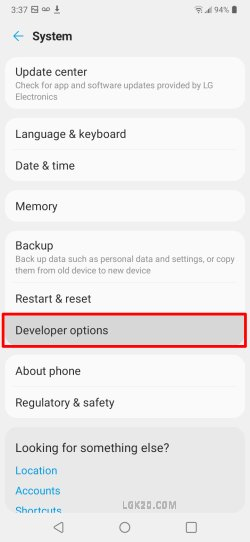 lg k51 developer mode